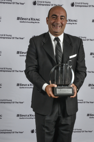 June 18, 2013 - Sam Naficy, President & CEO, DTT, receives Ernst & Young Entrepreneur Of The Year Award for the Technology category. (Photo: Business Wire)