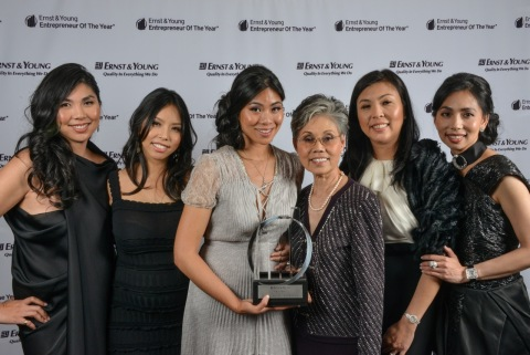 June 18, 2013 - The An Family, of fourth generation family-owned business House of An, receives the Ernst & Young Entrepreneur Of The Year Family Business Award of Excellence. From left to right: Monique An, Jacqueline An, Catherine An, Helene An, Hannah An and Elizabeth An. (Photo: Business Wire)