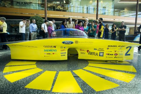 """Generation,"" the University of Michigan's 2013 solar car, features an Avery Dennison vehicle wrap f ..."