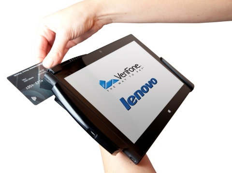 VeriFone and Lenovo introduced a versatile, enterprise-class, mobile point of sale (mPOS) platform to meet retail needs for a Windows-based system compatible with existing retail store systems. The platform integrates a ThinkPad(TM) Tablet 2 based on the Intel(R) Atom(TM) Z2760 processor with VeriFone's secure PAYware Mobile technology designed exclusively for the Lenovo tablet. (Photo: Business Wire)