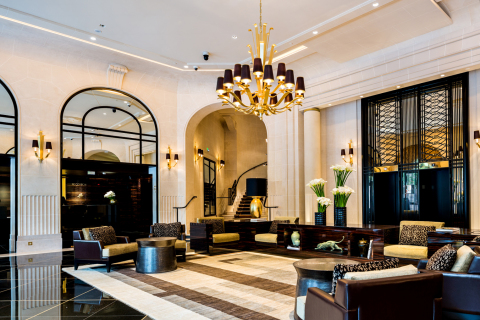 The Art Deco lobby at the recently reopened Prince de Galles, a Luxury Collection Hotel, Paris. (Pho ...