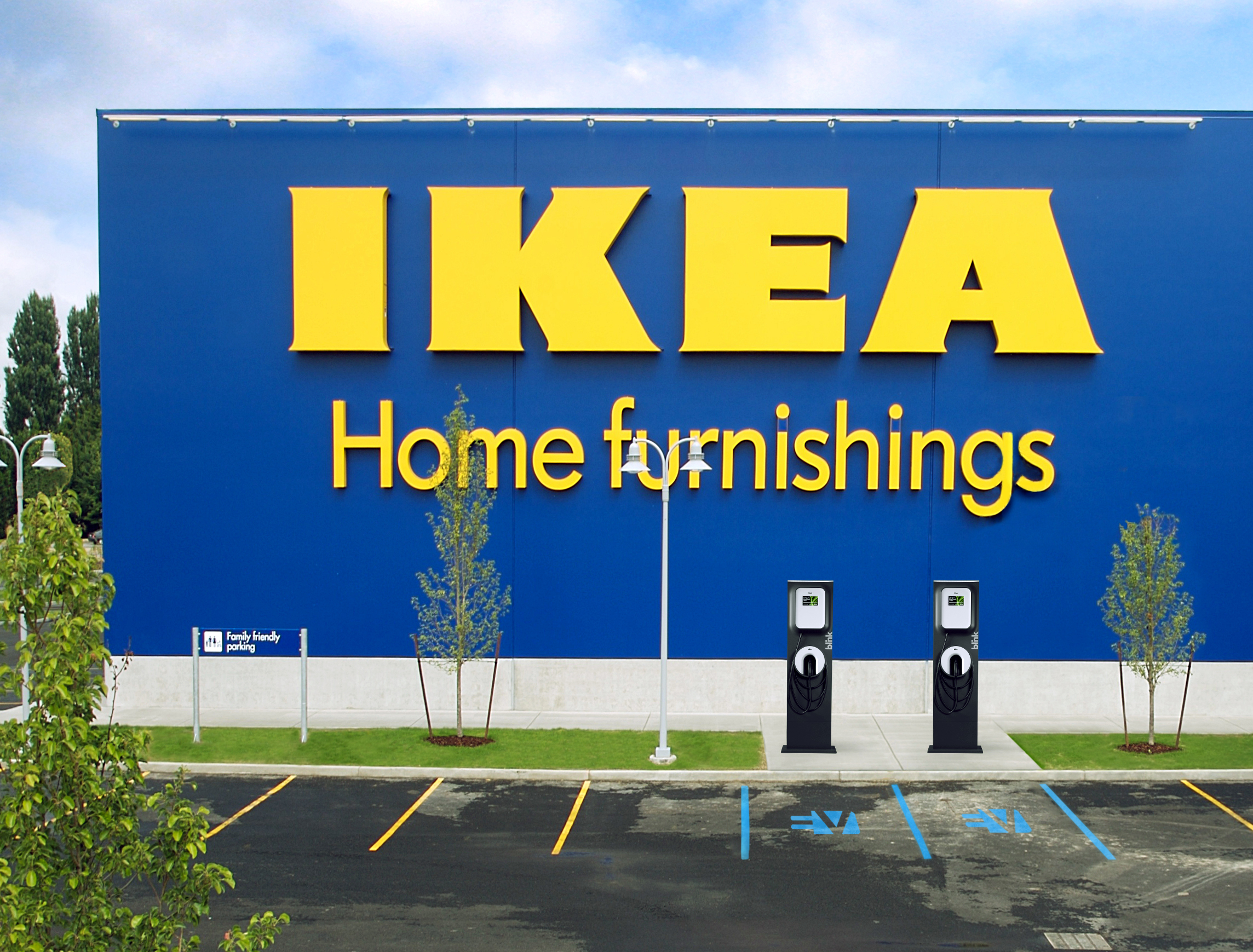 IKEA today announced it extended its successful partnership with ECOtality, Inc. (NASDAQ:ECTY), a leader in clean electric transportation and storage technologies, with plans to add 24 Blink® electric vehicle charging stations across eight more locations in the United States. (Photo: Business Wire)