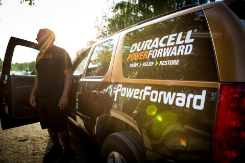 Duracell Power Forward Trucks assist in recovery efforts with device charging and free batteries. (P ...