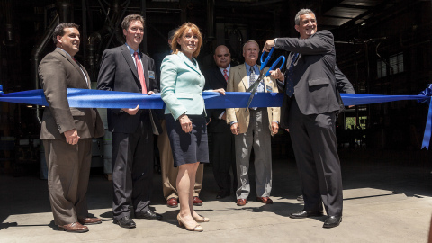 Participants in a ribbon-cutting ceremony for a new Lead Free foundry at the Watts Water Franklin Fa ...