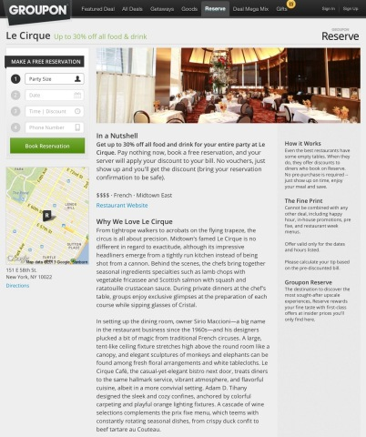 Groupon Reserve currently offers discounted reservations to more than 600 of the country's top restaurants, including Le Cirque in New York City, Chaya Brasserie in Los Angeles and db Bistro Moderne in Miami. (Photo: Business Wire)