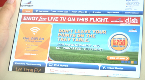 """DISH and Southwest Airlines announced today """"TV Flies Free"""" courtesy of DISH. The screenshot shows the in-flight TV experience aboard a Southwest flight July 1, 2013. (Graphic: Business Wire)"""