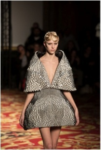 Stratasys Connex multi-material 3D printed dress, designed by Iris van Herpen and Prof. Neri Oxman - Paris Fashion Week January 2013: http://bit.ly/18tdKcy (Photo: Stratasys Ltd.)