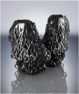 Stratasys Connex 3D printed shoes, designed by Rem D Koolhaas for Iris van Herpen Paris Fashion Week Couture Show Collection - July 2013 (Photo: Stratasys Ltd.)