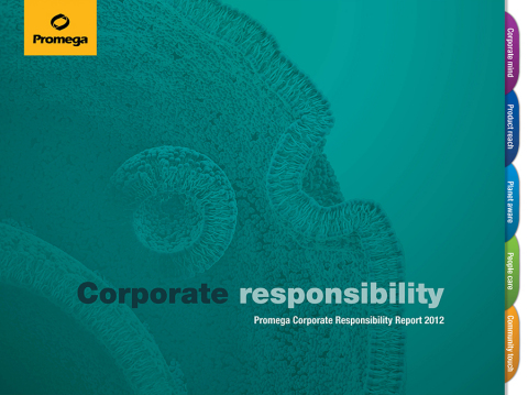 Promega 2012 Corporate Responsibility Achievements Continue to Benefit Environment and Community