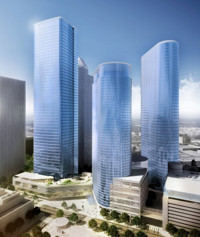 Chevron's proposed tower (left) would form an urban campus with the company's two existing towers in downtown Houston. (Photo: Business Wire)