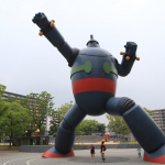"""""""Tetsujin 28-go"""" is the title of a manga work and the name of the huge robot who appears in the work, illustrated by Mitsuteru Yokoyama. In the story, a boy detective named Shotaro uses a remote controller to operate Tetsujin 28-go and fight for peace. Today, this huge robot emerges from the pages of manga to fight for peace in Kobe, Mr. Yokoyama's birthplace.(Photo: Business Wire)"""