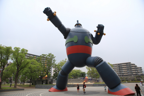 """Tetsujin 28-go"" is the title of a manga work and the name of the huge robot who appears in the work, illustrated by Mitsuteru Yokoyama. In the story, a boy detective named Shotaro uses a remote controller to operate Tetsujin 28-go and fight for peace. Today, this huge robot emerges from the pages of manga to fight for peace in Kobe, Mr. Yokoyama's birthplace.(Photo: Business Wire)"
