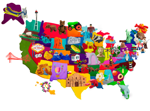 """The PLAY-DOH brand has just wrapped the """"PLAY-DOH(R) States of America,"""" a nationwide social media campaign where more than 30,000 Facebook fans voted on which icon best represents their state, and the winning icons were sculpted completely out of PLAY-DOH(R) compound! The completed map was just revealed in time for the Fourth of July. Visit Facebook.com/Play-Doh for more on the individual state icons. (Photo: Business Wire)"""