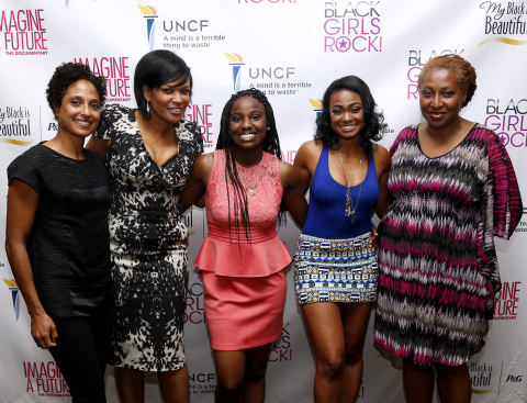 From left to right, director Shola Lynch, executive producer Beverly Bond, documentary lead Janet Goldsboro, actress Tatyana Ali and director and producer Lisa Cortes help P&G's My Black is Beautiful kick off ESSENCE Festival weekend with a screening of the Imagine a Future documentary on July 4, 2013. (Photo: Business Wire)
