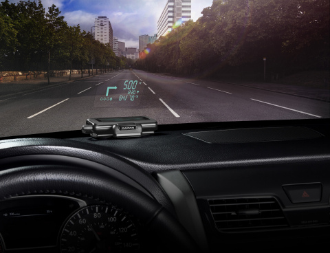Garmin HUD is an innovative new way of viewing navigation information in the car, projecting crisp and bright directions onto a transparent film on the windshield or an attached reflector lens. (Photo: Business Wire)
