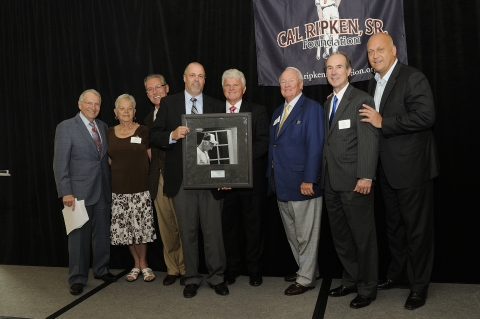 John Hollenbach, United Water General Manager at center, accepts the 2013 Perfect Practice Award on behalf of United Water from members of the Cal Ripken, Sr. Foundation board of directors. Bob Manbeck, second from left, also represented United Water at the event. At far right is Foundation Co-Founder and Baltimore Orioles Hall of Famer Cal Ripken, Jr. (Photo: Business Wire)