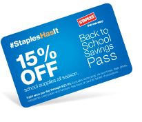 Staples announces the return of the popular Back-to-School Savings Pass, which provides customers a 15 percent discount on supplies. Available for purchase for $10 through Aug. 31, the savings pass is valid until Sept. 21, and can be used once a day. (Graphic: Business Wire)
