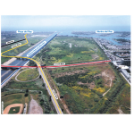 Photo of Ballona Wetlands looking from east to west with marked roadways prior to drainage device violation. (Graphic: Business Wire)