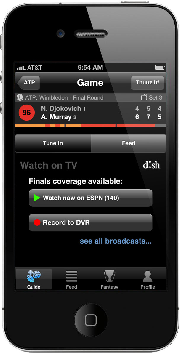 DISH's Hopper API's integrated in to the Thuuz Sports app. Change the channel on a Hopper receiver right from the Thuuz app. (Photo: Business Wire)
