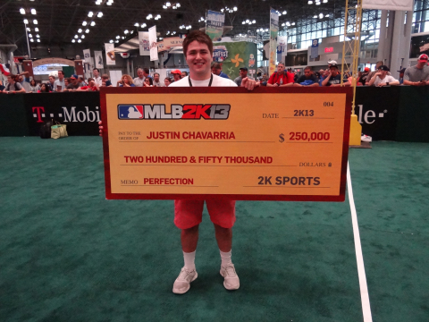 2K announced today that a champion has been crowned in the MLB(R) 2K13 Perfect Game Challenge. The winner, Justin Chavarria of Eugene, Ore., was one of four finalists who competed in a single-elimination tournament at the T-Mobile All-Star FanFest in New York City for a $250,000 grand prize. (Photo: Business Wire)