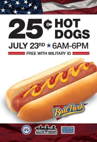 Celebrate National Hot Dog Day with a 25-cent hot dog at any Kangaroo Express. Free with military I. ...