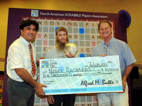 2013 National SCRABBLE Champion Nigel Richards (New Zealand), between NASPA Copresidents John Chew ( ...