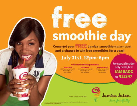 Jamba Juice Celebrates One-Year Anniversary in Washington, D.C. With Free Smoothie Day Promotion on July 31 (Photo: Business Wire)