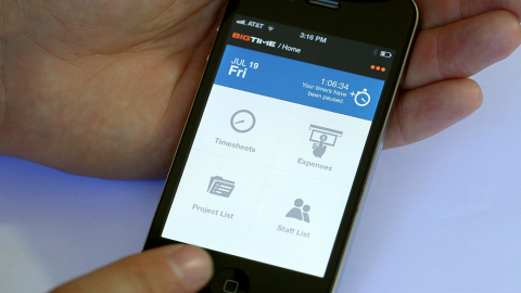 BigTime Mobile, the new mobile app from BigTime Software, puts pro-level time tracking, expense entry and project management features in the palm of your hand. (Photo: Business Wire)