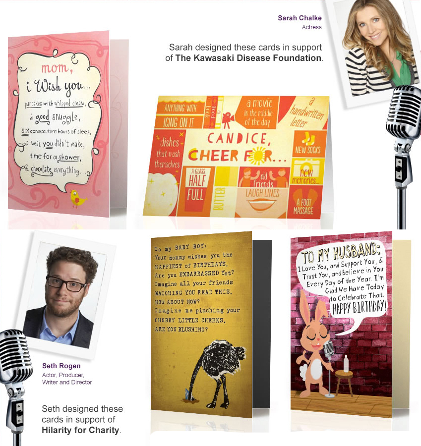 Comedians seth rogen and sarah chalke create an exclusive collection comedians seth rogen and sarah chalke create an exclusive collection of celebrity birthday cards for treat business wire m4hsunfo Choice Image