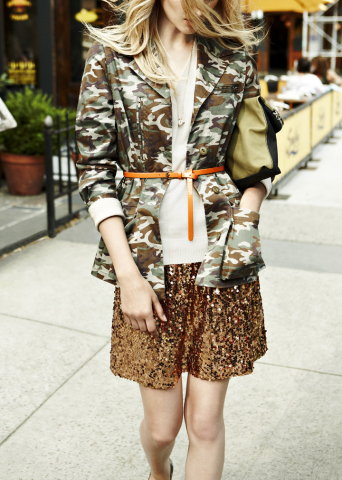 Shop QMack, available exclusively at Macy's, beginning this August; Camo Print Utility Jacket $149, Dark Oatmeal V-neck Quincey Pull-over $59, Copper Sequin Mini Skirt $119. (Photo: Business Wire)