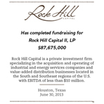 Rock Hill Capital Group Announces Final Close of Second Fund