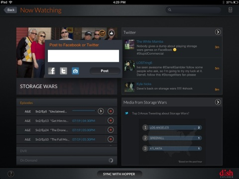 GetGlue check-ins within DISH Explorer can automatically populate to a user's Facebook and Twitter f ...