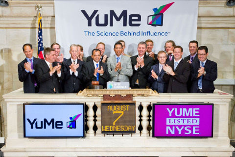 YuMe Co-Founder & CEO Jayant Kadambi, joined by members of the company's management team, rings the  ...