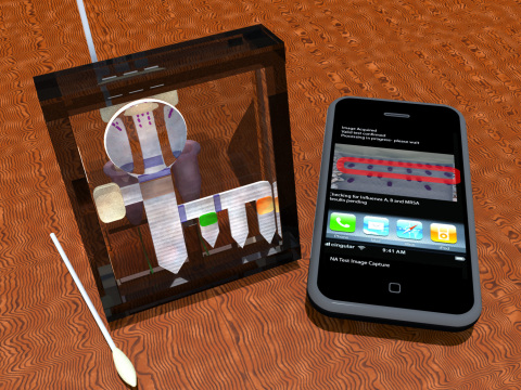 Early conceptual design showing the pieces necessary for a field-based diagnostic test, including a swab, a smartphone, and the testing device. (Courtesy: University of Washington, Department of Bioengineering)