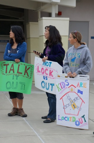 Parents protesting at Los Altos School District offices (Photo: Business Wire)