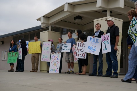 Parents of Bullis Charter School stage protest at school district offices (Photo: Business Wire)