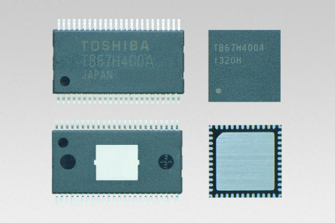 "Toshiba's 2-Channel DC Brush Motor Driver IC ""TB67H400A"", HTSSOP48 package (left) and QFN48 package  ..."