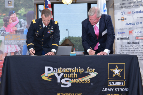 Lt. Colonel Robert Kaderavek (left) of the U.S. Army and Exelon CEO Christopher M. Crane sign an agr ...