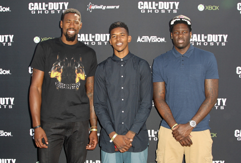 Professional basketball players DeAndre Jordan, Nick Young and Anthony Bennett attend the Call of Du ...