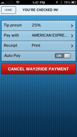 VeriFone Way2ride allows you to preset your payment preferences, preferred card, tip percentage and  ...