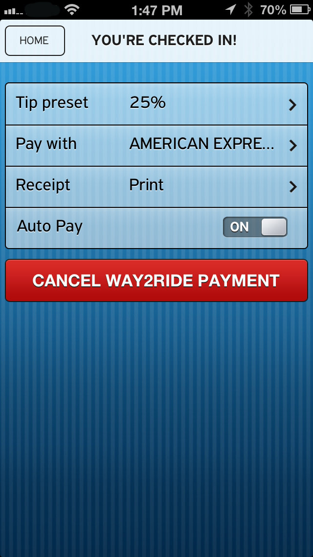 VeriFone Way2ride allows you to preset your payment preferences, preferred card, tip percentage and how you would like to receive your receipt. (Photo: Business Wire)