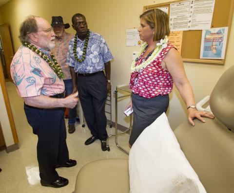 Hawaii Gov. Neil Abercrombie (left); Mike Middlesworth (left center), East Hawaii Regional Board mem ...