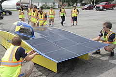 University of Michigan engineering students prepare solar car, designed with the help of Agilent ins ...