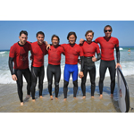 Actor Josh Bowman and professional surfers Kalani Robb, C.J. Kanuha and Alek Parker taught Surf Camp With Autism Society San Diego and the Tommy Hilfiger Corporate Foundation. (Getty Images/Angela Weiss)