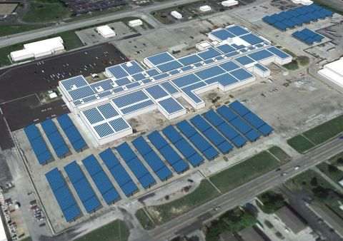 Lifeline Data Centers Eastgate campus pictured with the planned solar arrays. (Photo: Business Wire)
