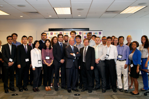 Mayor Bloomberg Welcomes NYU's Center for Urban Science & Progress Inaugural Graduate Class (Photo: Business Wire)