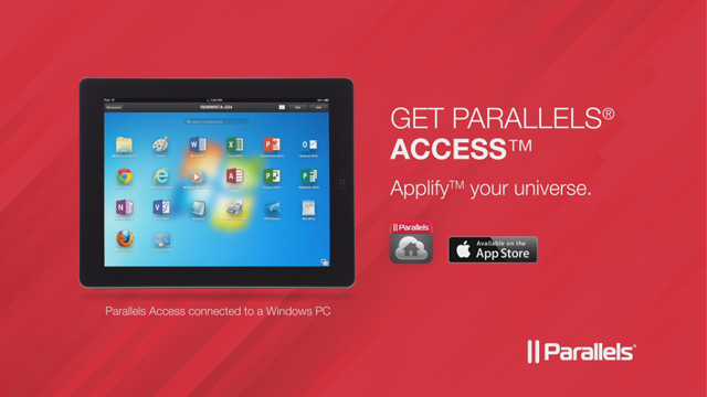 "Parallels Access app for iPad ""applifies"" all of the applications on your Mac or PC so you can access them from your iPad and they work just like iPad apps. Tap, swipe, pinch, zoom and get more done on the go. www.parallels.com/access"
