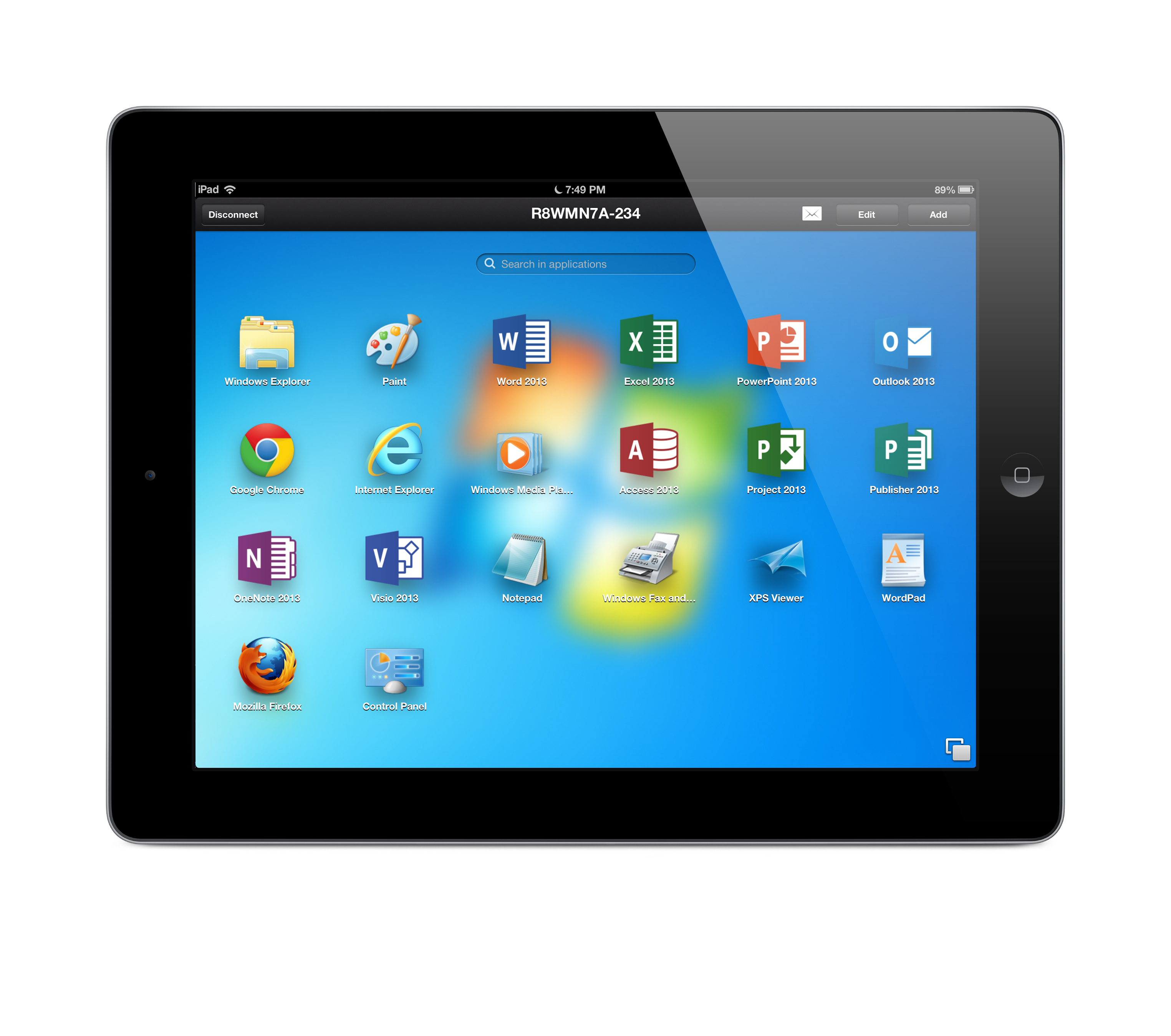 """Parallels Access app for iPad is shown accessing a Windows 7 PC with all of its programs """"applified"""" so they work just like they were made for your iPad. Tap, swipe, pinch, zoom and get more done on the go. www.parallels.com/access (Photo: Business Wire)"""
