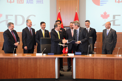 China Gas CEO Mr. Lui Ming Hui shakes hands with Export Development Canada (EDC) Senior Vice Preside ...
