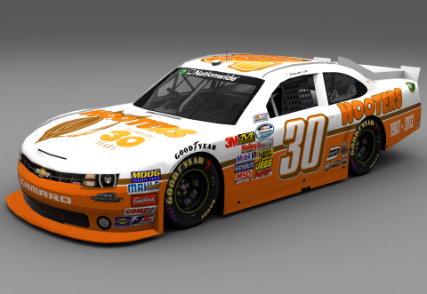 Nelson Piquet, Jr., unveiled Hooters as the sponsor of his No. 30 Chevrolet Camaro for Chicagoland S ...